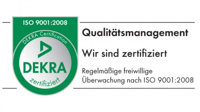 Our company is certified according to ISO 9001:2008