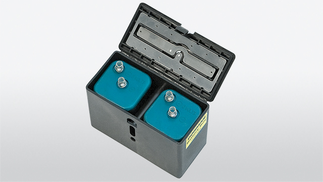 Battery box with two batteries