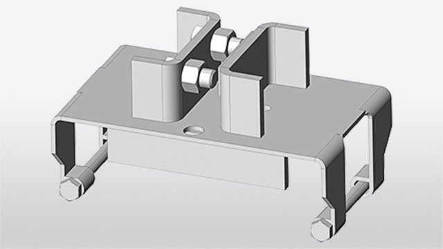 Square tube holding device ESP-IPE for assembly on IPE-post of the guard-rail