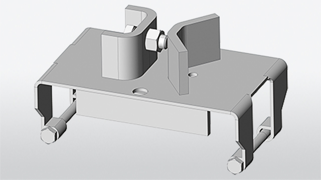 Square tube holding device ESP-Sigma for assembly on Sigma-post of the guard-rail