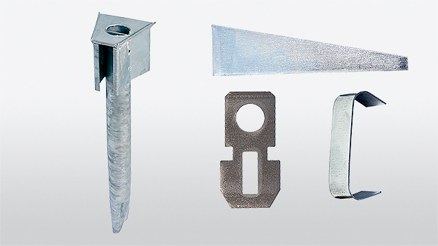 Circular tube base part with wedge, break-off clip and fixing metal strap
