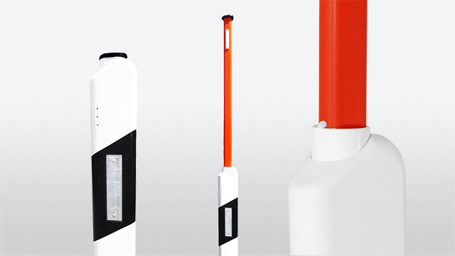 Delineator with integrated triangel snow pole with locking and reflectors