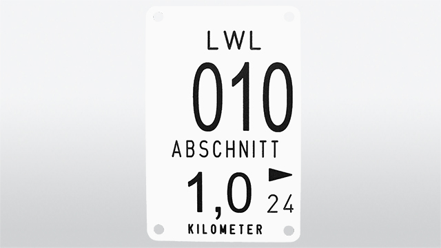 "Stationing sign 90 x 140 mm with ""Section"" and ""Kilometre"""